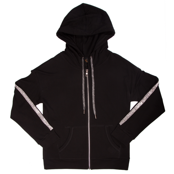 Women's Zip-Up Hoodie with Square Sequins