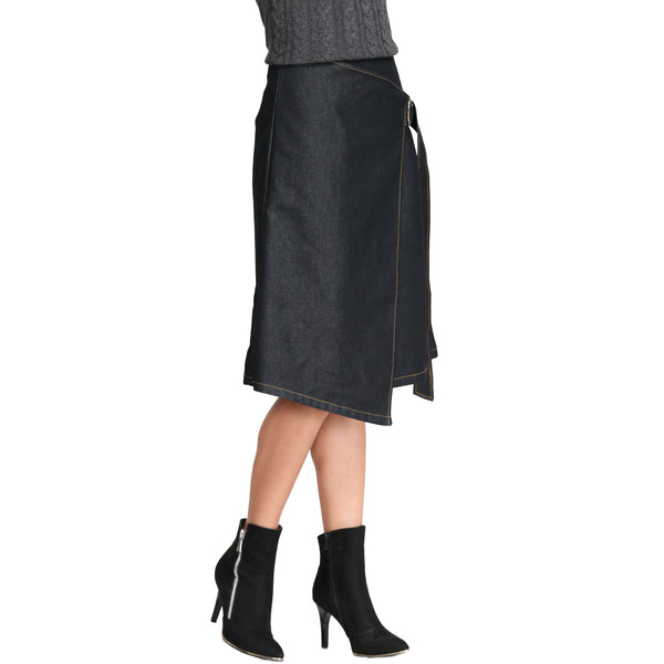 Ring Tied Wrap Denim Skirt
