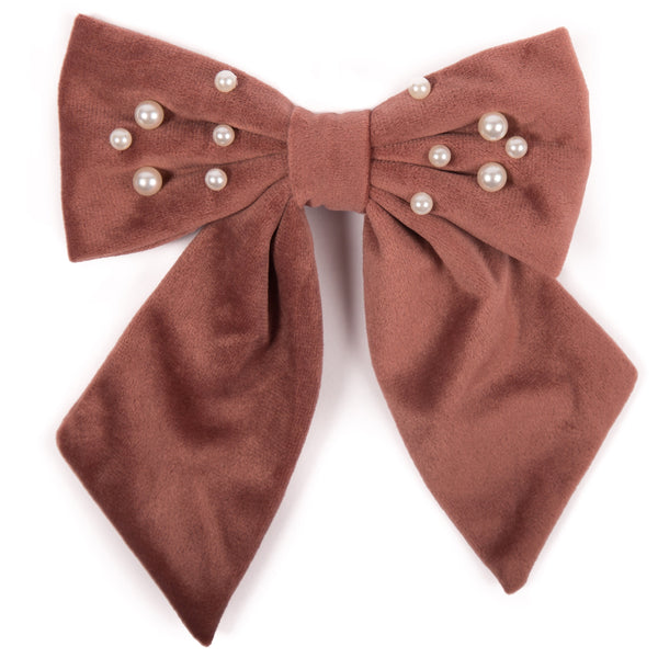 Velvet Bow Hairclip with Pearls