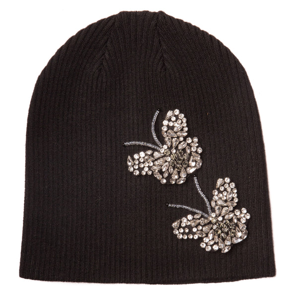 Women's Butterfly Ribbed Cotton Beanie
