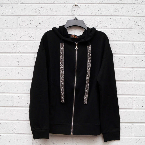 Sparkle Bead Draw String Hoodie