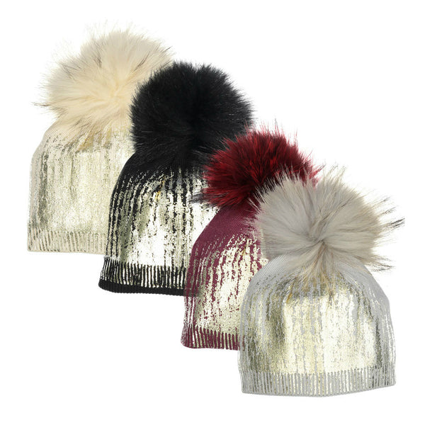 Girls' and teen's winter hats with a metallic finish with fur pom poms. Stylish and warm!