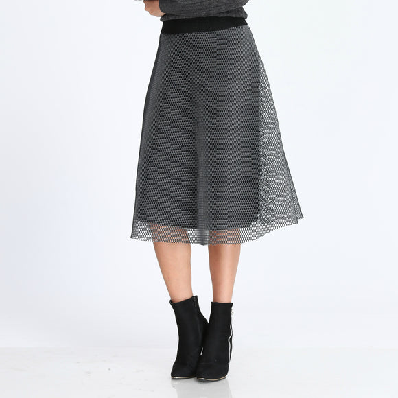 Gauze Mesh Pleated Skirt