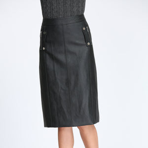 Panelled Pencil Leather Skirt