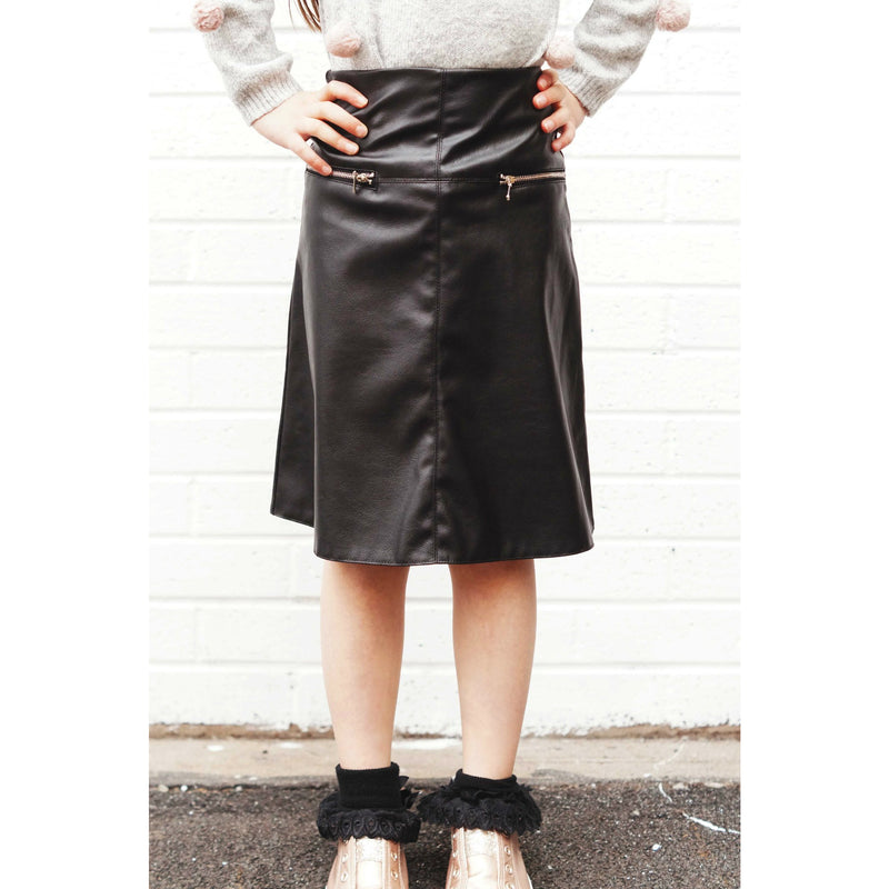 Leather Side Zip Skirt
