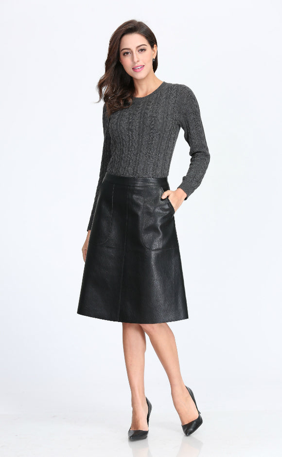 Womens A-line Leather Skirt