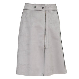 Suede Zipper A-line Skirt