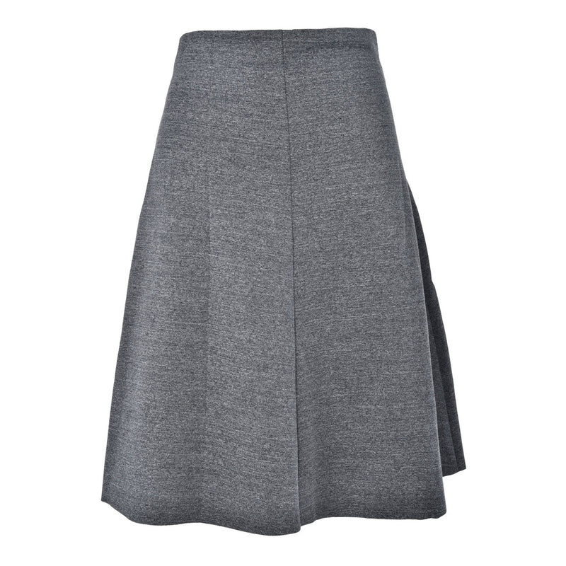 ladies grey knee length skirt a-line flared swing pleated everyday wear casual work office