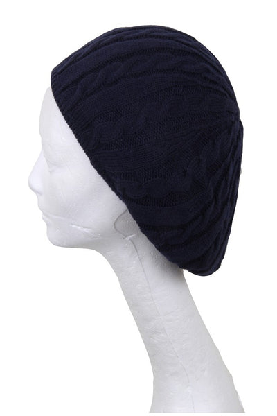 Cable Knit Lined Beret