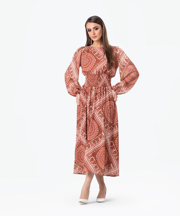 Printed Smock Chiffon Midi Dress
