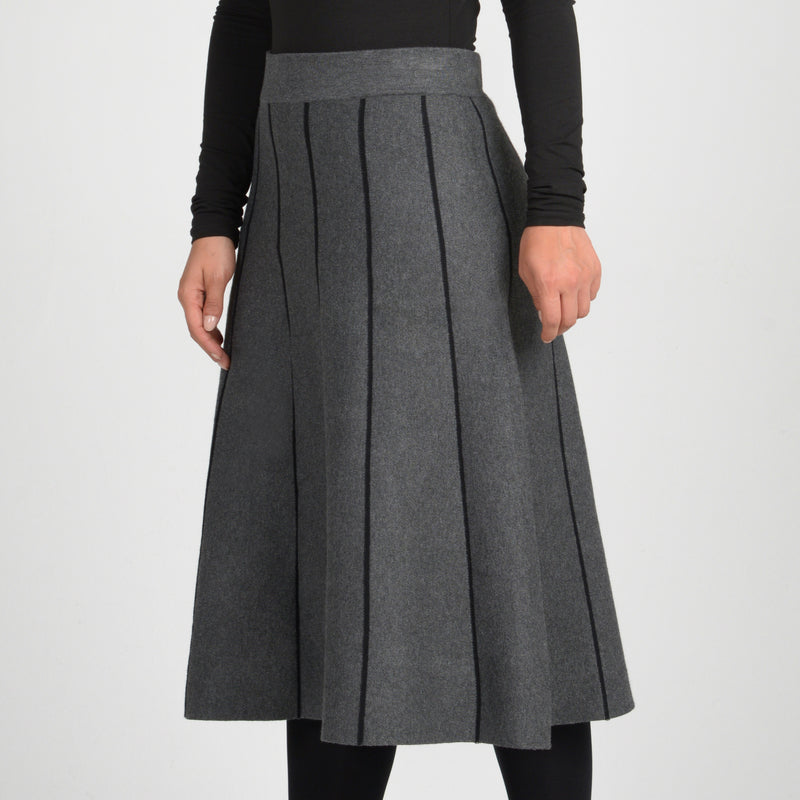 Ladies Striped Knit A-Line Skirt