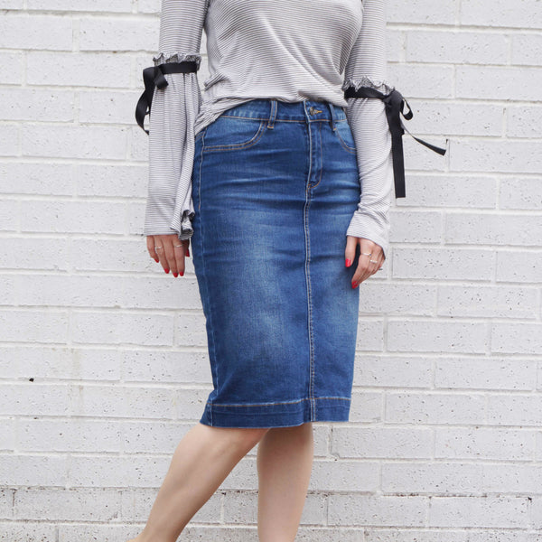 Ladies Denim Pencil Skirt