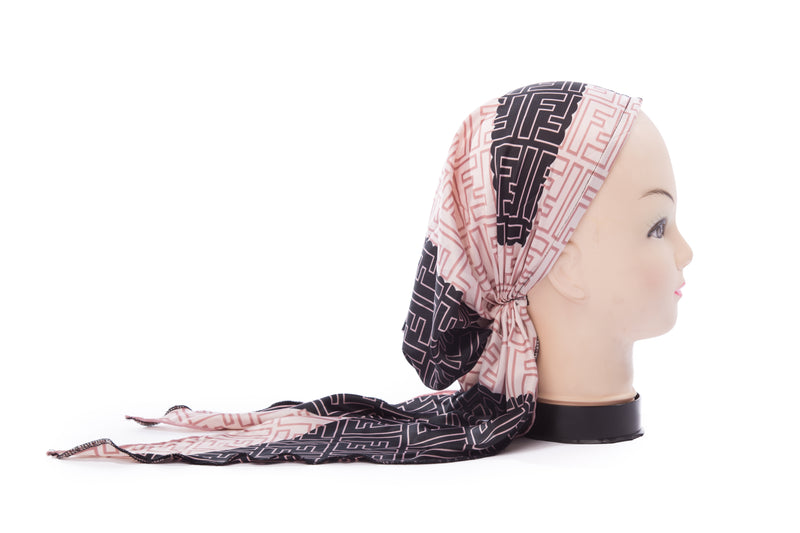 Black & Pink Silk Pre-Tied Longtail Bandana