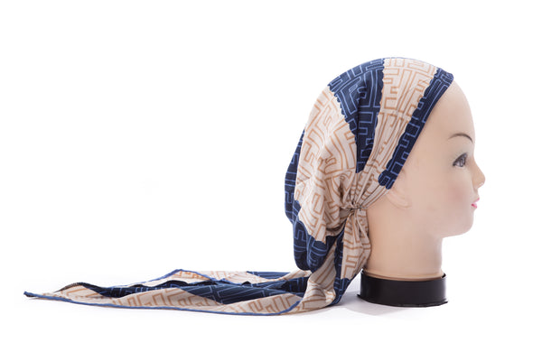 Blue & Beige Design Pre-Tied Longtail Bandana