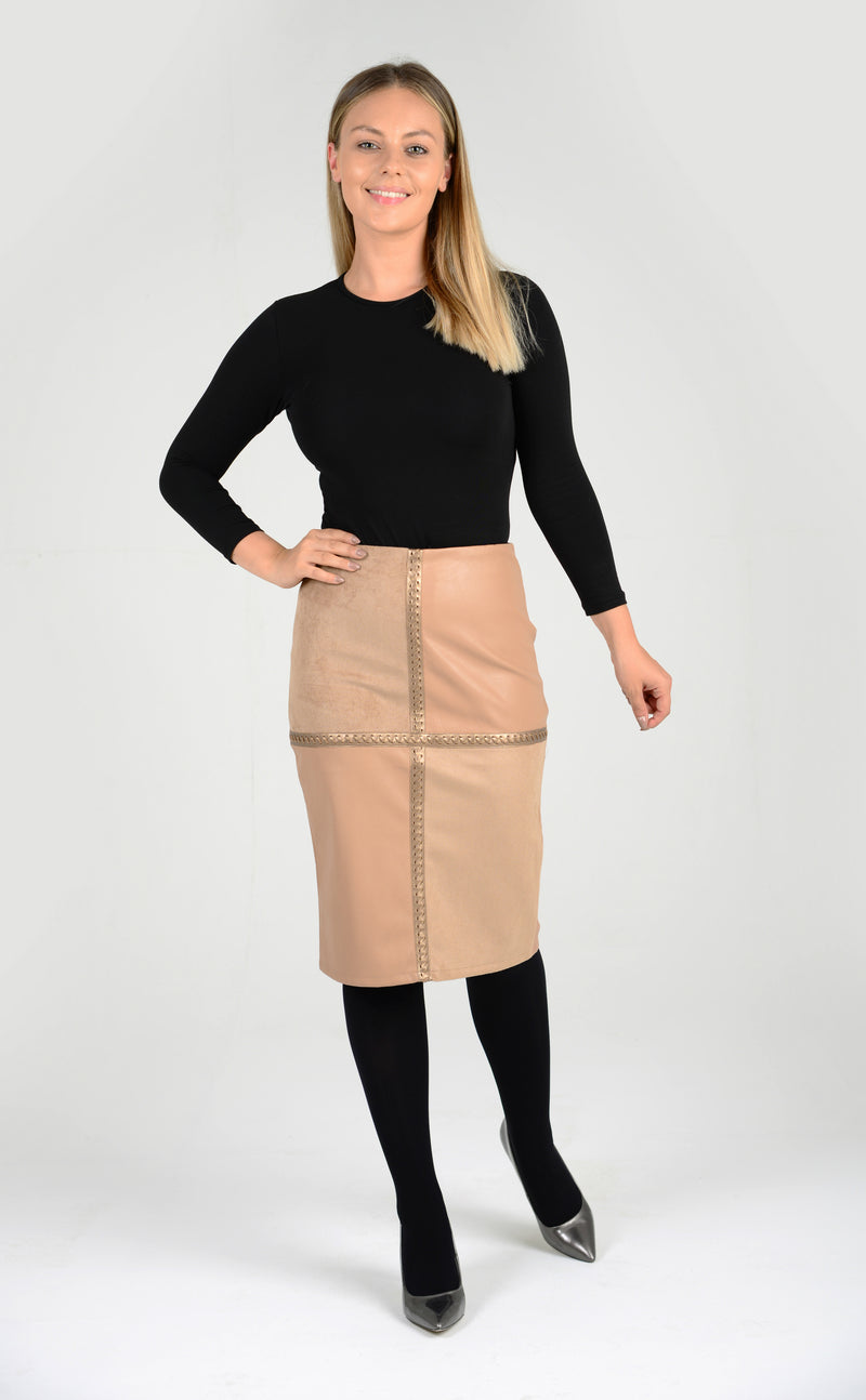 Faux Suede & Leather Pencil Skirt