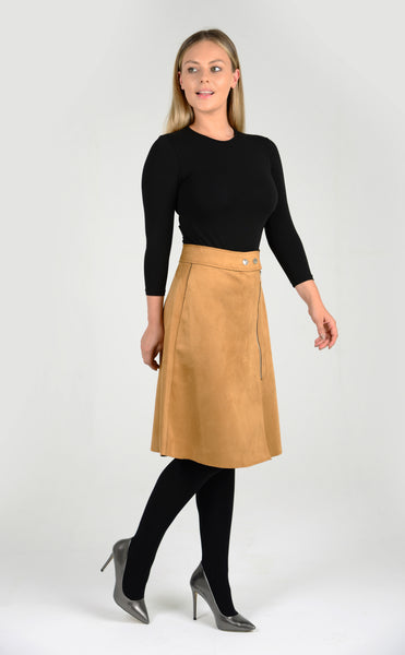 Tan coloured knee length skirt in suede, modest tzniut clothing