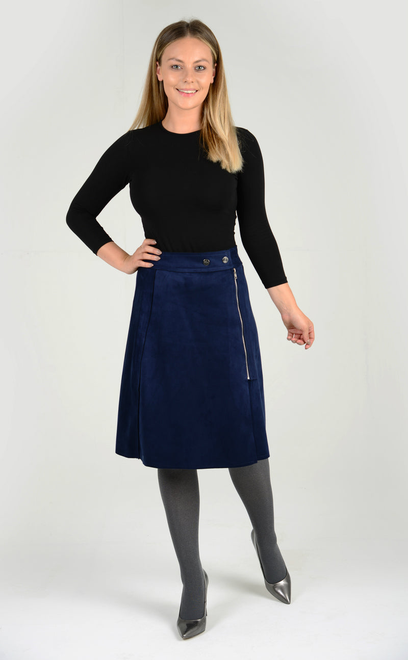 Womens Flared skirt in blue designed with elasticated waistband for utmost comfrot
