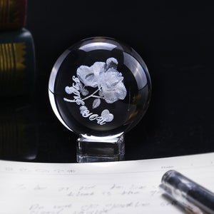 "Crystal Rose ""I Love You"" Globe"