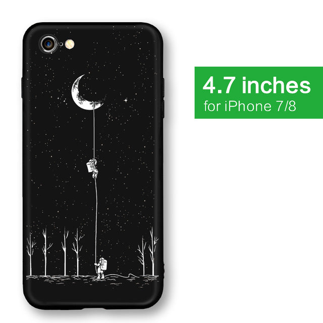 Soft Silicone Moon & Astronaut Phone Case
