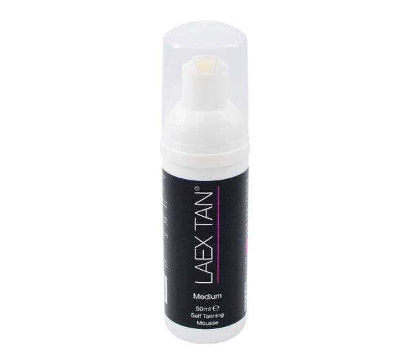 laex tan 50ml medium self tan mousse travel size