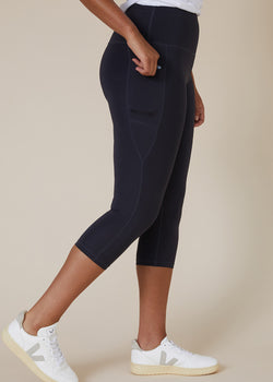 Sustainable Australian Charcoal Grey 3/4 calf length leggings with large side phone pockets