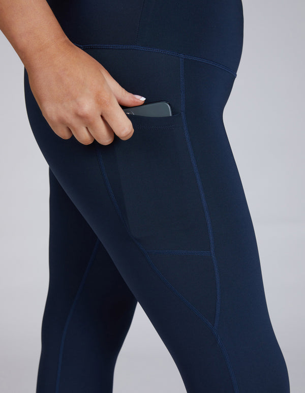 Navy Blue 3/4 Crop Sustainable Leggings with phone pocket