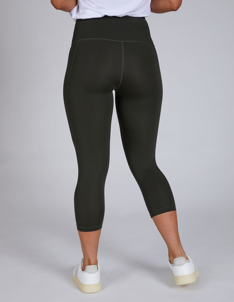 Olive Green 3/4 Crop Sustainable Leggings with phone pocket