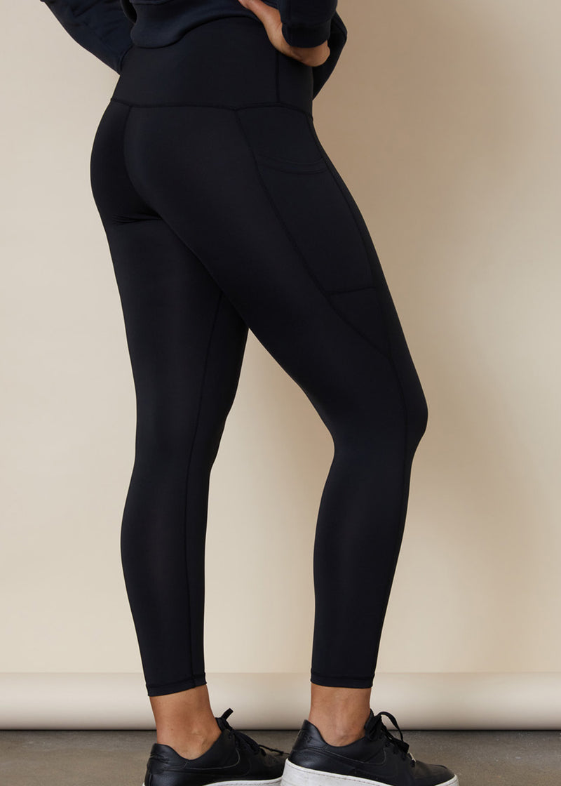 Squatproof black leggings with side leg phone pocket on both sides