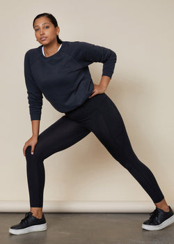 Black 7/8 full leggings with phone pockets, squat proof, above the ankle length