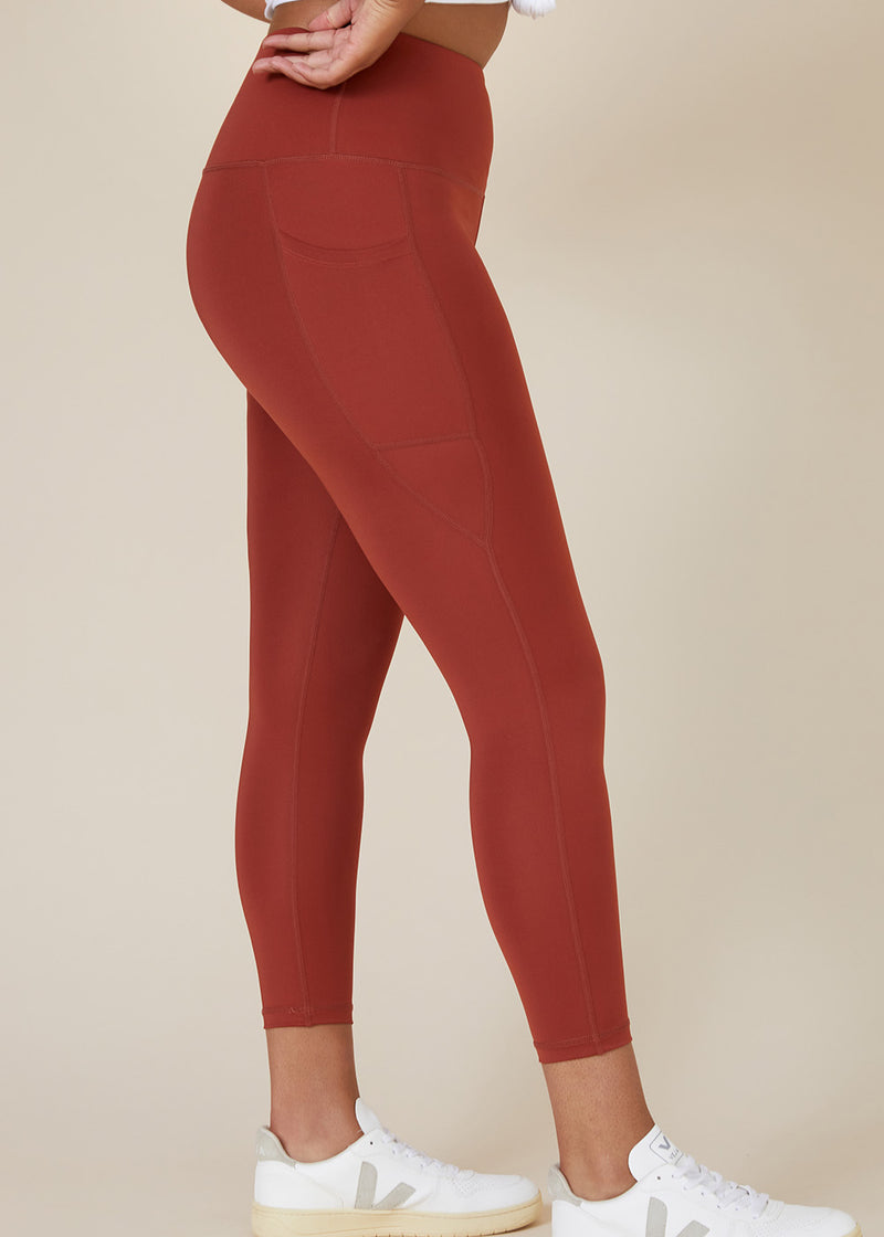 Sustainable Australian Burnt Orange 7/8 ankle length leggings with large side phone pockets