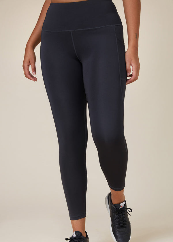 Sustainable Australian Charcoal Grey 7/8 ankle length leggings with large side phone pockets
