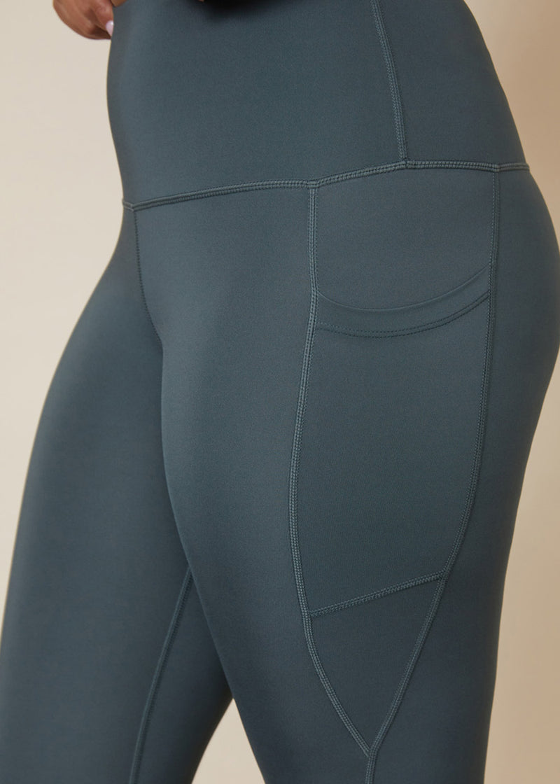 Sustainable leggings, Gumnut green colour3/4 length leggings with side pocket for phone