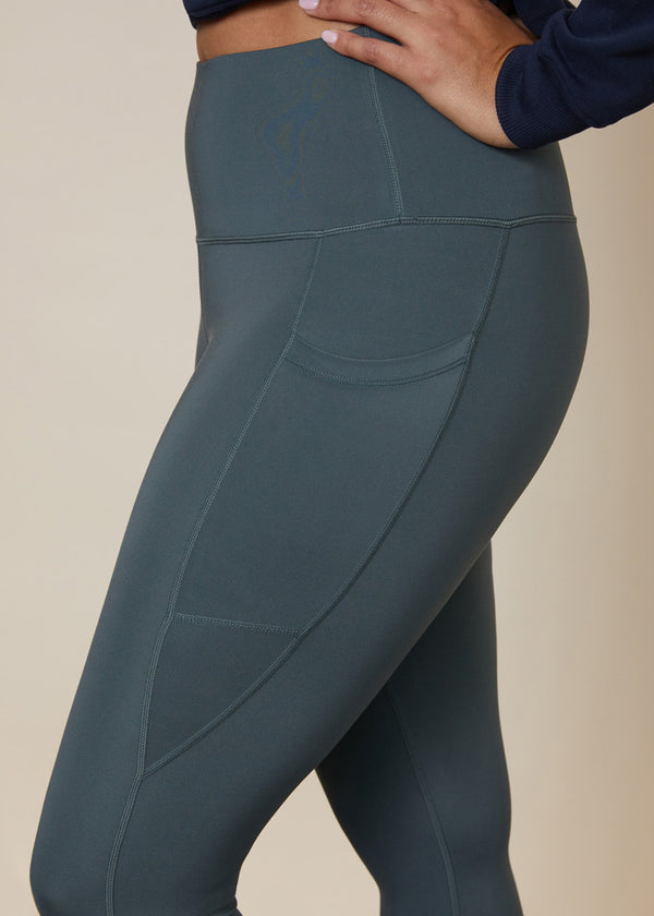 Green leggings with side pocket for large phone