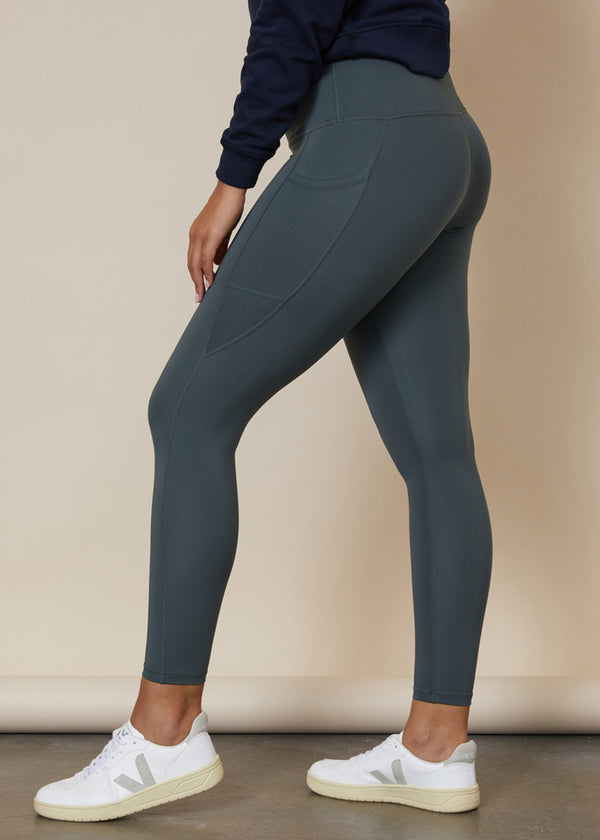 7/8 ankle length gumnut green leggings with large side leg phone pocket