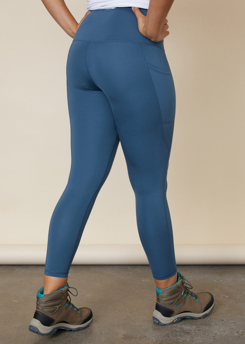 Sustainable high waisted blue leggings with side leg phone pocket