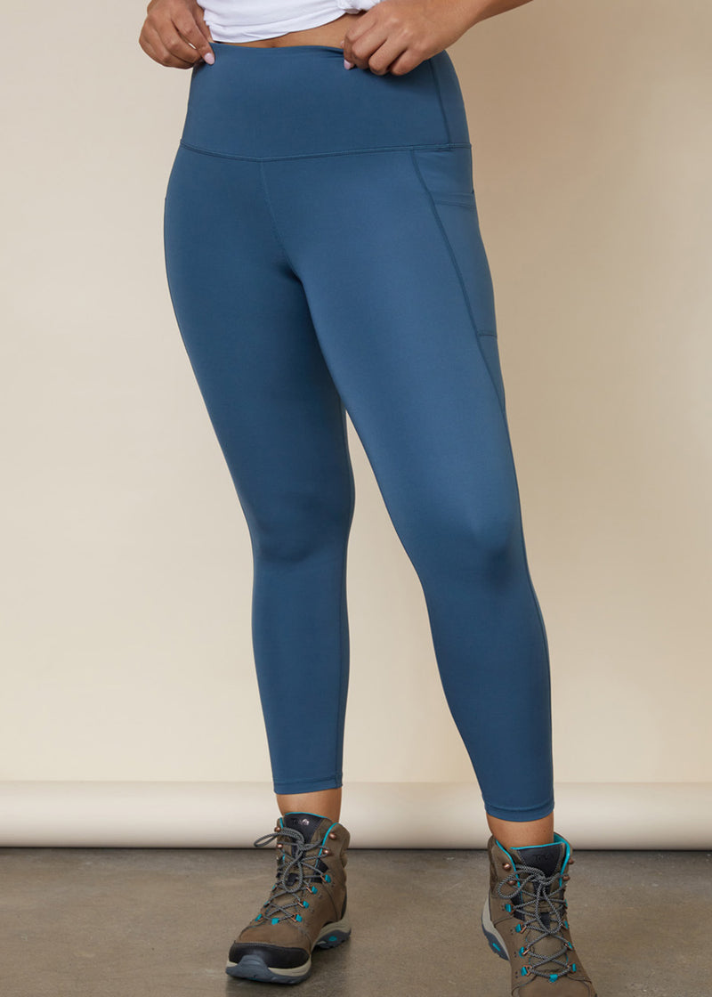 Sustainable Australian blue full length leggings with side leg phone pocket for large iphone