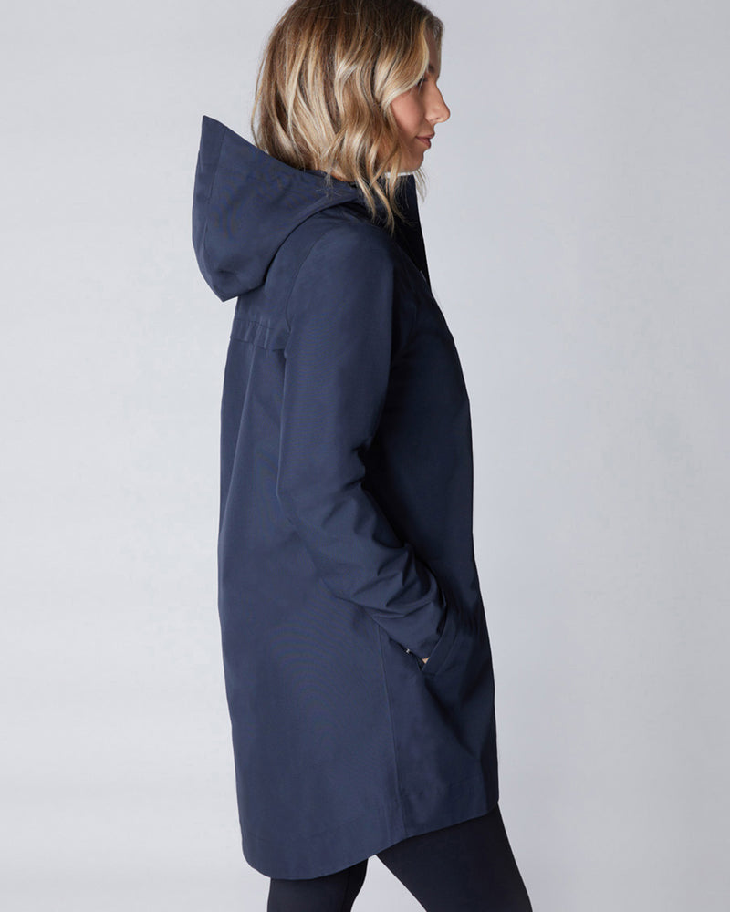 Refuge Waterproof Long Jacket - Navy