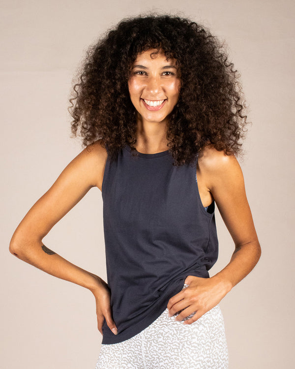 Womens Dark Blue Tank Top Organic Cotton