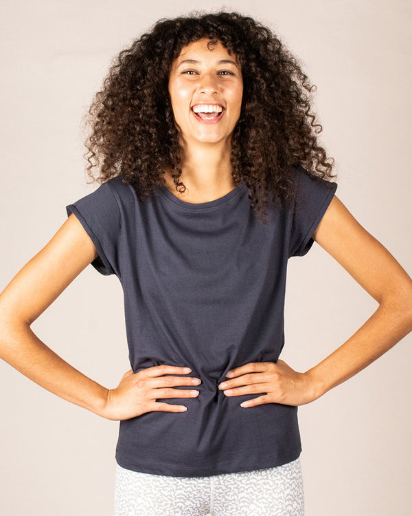 Womens Dark Blue Tshirt Organic Cotton