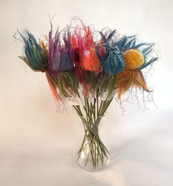 Pompom flowers which will live forever. These large pompoms have been made 4 at a time with Multipom.