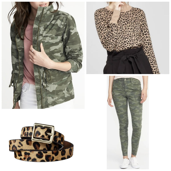 Affordably mixing in camo & leopard (click here)