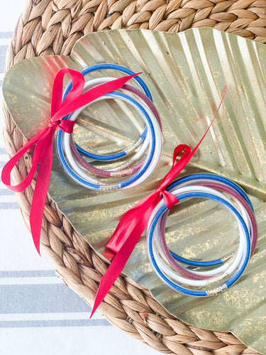 Stack of Red, White and Blue Bangles