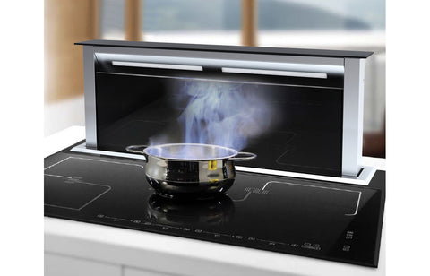 Prima+ PRDE0004 90cm Downdraft Hood - Black Glass