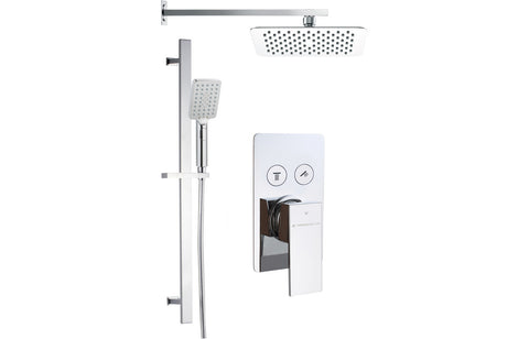 Square Shower Pack 6 - Lotti Twin Push Button Two Outlet with Riser/Overhead Kit