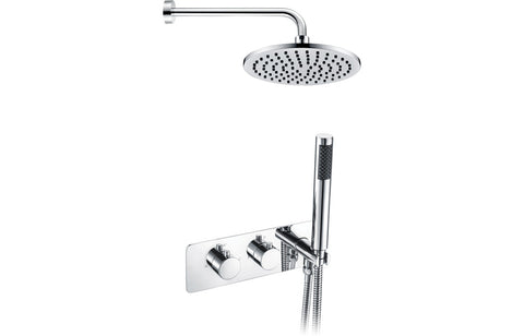 Round Shower Pack 5 - Lexi Twin Two Outlet with Handset & Brass Overhead Shower