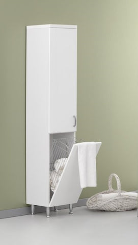 Hazar White Tall Unit with Laundry Basket