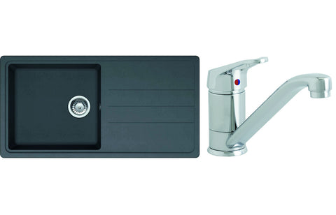 Sink Pack: Prima 1B Composite Inset Sink & Single Lever Mixer Tap Pack - Black
