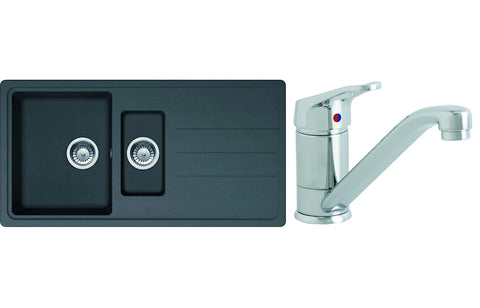 Sink Pack: Prima 1.5B Composite Inset Sink & Single Lever Mixer Tap Pack - Black
