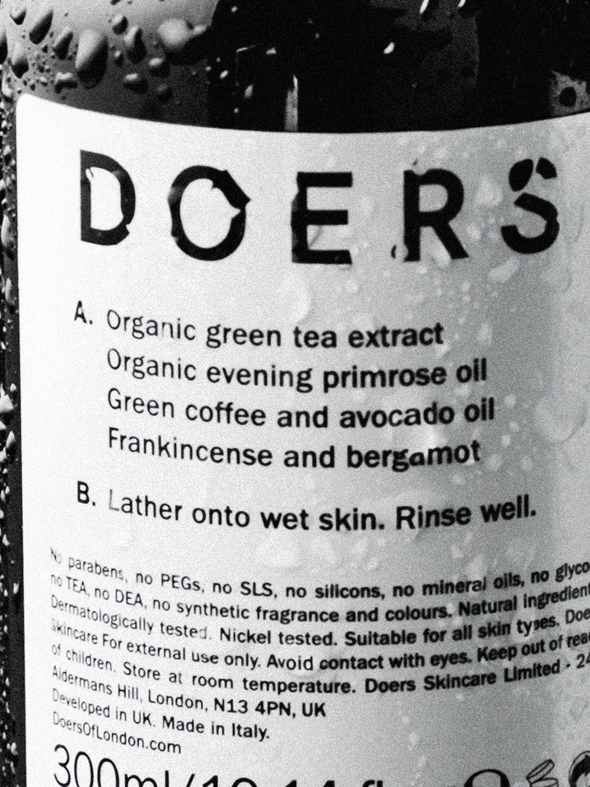 Doers of London Body Wash 300ml natural and organic ingredients list