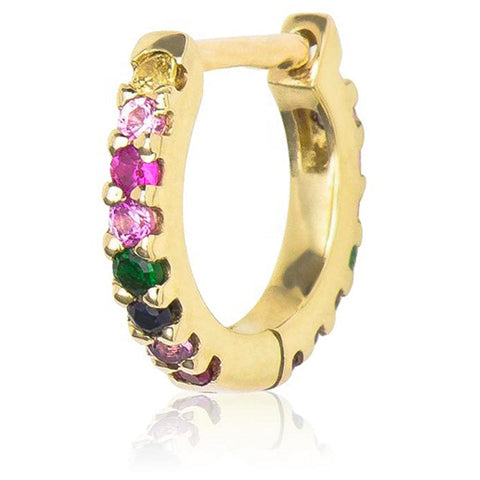 RAINBOW YELLOW GOLD VERMEIL HUGGIE